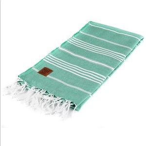 Gold Case Cotton Green White Striped Turkish Towel